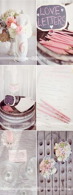 Listy do Pary Młodej na specjalnych formularzach. Można też pomyśleć o stworzeniu okazjonalnych ołówków lub długopisów.