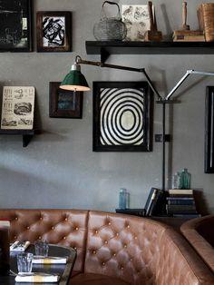 ARTWORK & VINTAGE LIGHTING AT Q GRILL BY ALEXANDER WATERWORTH INTERIORS