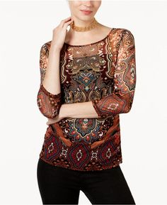 INC International Concepts Petite Printed Illusion Top, Created for Macy's