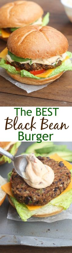 The BEST Black Bean Burgers with chipotle mayo sauce. | Tastes Better ...