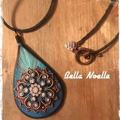 """Host PickHandmade Pendant Necklace Blue ombré Peruvian thread pendant accented with a copper Victorian style flower with a pewter flower center brushed with dark turquoise & accented with clear jewels. Black suede cord with copper loop & peg closure & a silver """"made with love"""" heart charm. 29"""" length with 3.5"""" dangle. Handmade by me from my Bella Noelle Collection. Each pendant is one of a kind. Bella Noelle Jewelry Necklaces"""