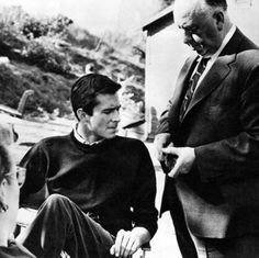Alfred Hitchcock and Anthony Perkins on the set of Pshyco.