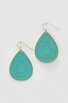 Fae Droplet Earrings in Turquoise Patina on Emma Stine Limited