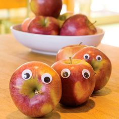 Stick googly eyes on your kid's apple or banana and give them a fun fruit surprise in their lunch box! (Trust us: they will LOVE this!) http://www.parents.com/fun/activities/indoor/make-your-house-more-fun/?socsrc=pmmpin130319hGooglyEyedFruit