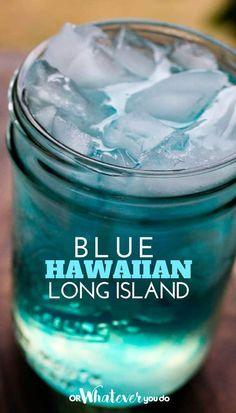 Blue Hawaiian Long Island  ...sans the tequila please Lime Drinks, Tequila Drinks, Liquor Drinks, Cocktail Drinks, Yummy Drinks, Blue Curacao Drinks, Beverages, Blue Alcoholic Drinks, Blue Cocktails