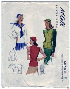 McCall Pattern 4060 -- 1941 Misses' Jerkin or Middy Blouse and Cap