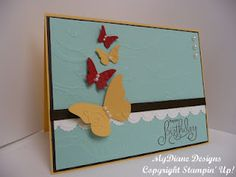 Stampin Up, Handmade card, Beautiful Wings, Embossed, card, Birthday card