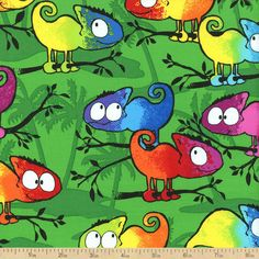 Rainbow Tropics Chameleon Cotton Fabric - Green by Beverlys.com