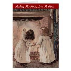 Vintage Christmas Girls Sisters Waiting for Santa Card