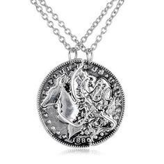 Best Friends Necklace For 2 BBF Friendship Gift Couples Pendant Coin Puzzle Necklace Retro Deer Necklace For Men And Women #Affiliate