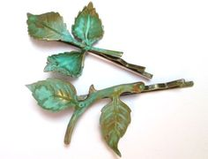 #Autumn #Bridal #Hair #Accessories Branch #Leaves Bobby Pin Leaf Clip Green. $26.00, via Etsy.