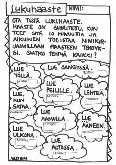 Lukuhaaste. Teaching Literature, Teaching Reading, School Holidays, School Fun, Finnish Language, Library Work, Positive Psychology, Class Activities, Challenge