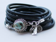 Turquoise bracelet 8 mine Turquoise silver and leather Black Leather Bracelet, Leather Bracelets, Leather Jewelry, Jewelry Crafts, Jewelry Box, Jewlery, Women's Bracelets, Bangles, Turquoise Bracelet