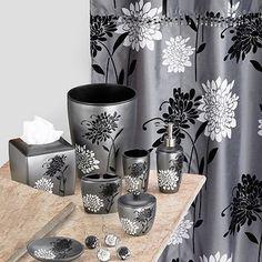 Black and white flower bathroom