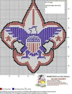 Boy Scouts of America logo Plastic Canvas Books, Plastic Canvas Tissue Boxes, Plastic Canvas Crafts, Plastic Canvas Patterns, Embroidery Patterns, Cross Stitch Patterns, Crochet Patterns, Stitch Witchery, Boy Scouts