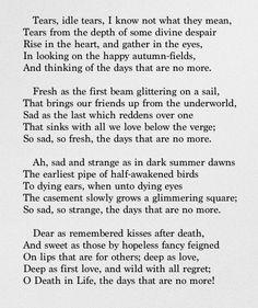 Tears, Idle Tears - Alfred, Lord Tennyson