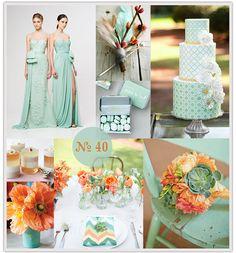 Mint & coral - pretty wedding color scheme.