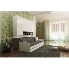 Compact Twin XL Sofa bed and Cabinets Wall System Queen Murphy Bed, Best Murphy Bed, Murphy Bed Plans, Murphy Beds, Sofa Bed With Trundle, Futon Bunk Bed, Solid Wood Platform Bed, Upholstered Platform Bed, Twin Wall Bed