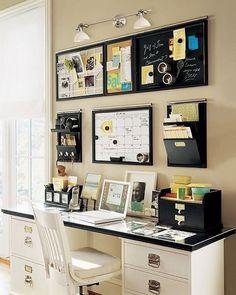 Orgainized on Wall. Creatively organized home office boosts your mood and make you more productive. : D Eu quer uma escrivaninha assim.