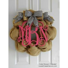 Burlap Wreath With Bow and Monogram Initials - Chevron Ribbon -  Front Door Decor - Monogram Wreath via Etsy