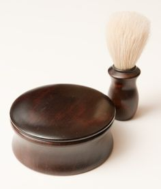 Shaving brush and soap bowl in wood
