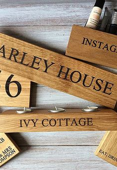 Beautiful handmade and personalised oak homeware and gifts from www.holderandhook.co.uk • house signs • candle holders • chopping boards