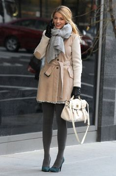 Light coat, soft grey tights and soft suede heels