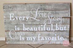 DIY Love Story Pallet, very cute decor!