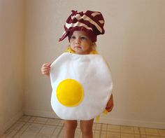 Baby bacon and eggs costume.