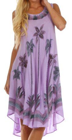 Sakkas Watercolor Palm Tree Tank Caftan Short Dress