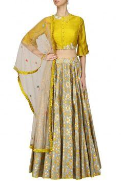 I AM DESIGN presents Mint ikat printed skirt and mustard crop top set available only at Pernia's Pop Up Shop. Lehenga Designs, Kurta Designs, Blouse Designs, Western Dresses, Indian Dresses, Indian Outfits, Indian Clothes, Indian Attire, Indian Wear