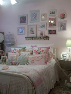Girly pink cottage style guest bedroom