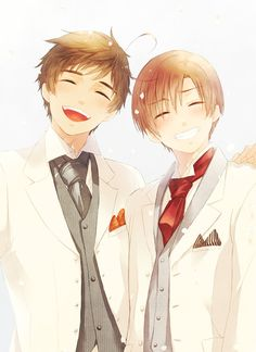 Romano is smiling? Romano IS smiling!? He is SMILING!! <- OH MY GOSH HE IS SO CUTE WHEN HE SMILES!!!!