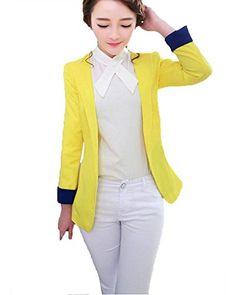 My Wonderful World Women's Slim Candy Color Rolled Sleeves Blazer Small Yellow My Wonderful World Blazer Coat Jacket http://www.amazon.com/dp/B0173ELSJC/ref=cm_sw_r_pi_dp_Ofylwb1ZZQPPJ