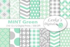 Mint and Grey Digital Paper by Digital Work Graphic Shop on @creativemarket
