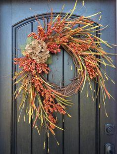 Fall Wreath Autumn Wreath Orange Berry by AnExtraordinaryGift, $75.00