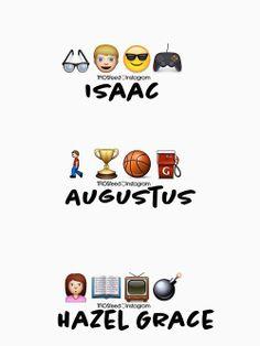 Isaac, Augustus and Hazel Grace described in emojis