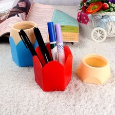 Office & School Supplies Cute Cartoon S Resin Pen Holder Vase With Led Night Light Pencil Pot Kawaii Desktop Storage Case Desk Organizer Quality First