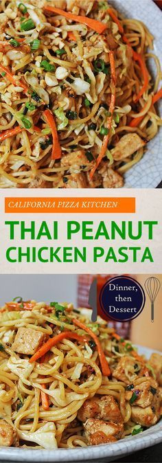 CPK INSPIRED THAI PEANUT CHICKEN PASTA ==INGREDIENTS== 1 lb thin spaghetti, 4T oriental sesame oil divided use, 1c julienned carrots, 2 c napa cabbage, 2 c chopped cooked chicken breast meat, 8 green onions, 5 garlic cloves, 1 T minced peeled fresh ginger, ¼ c honey, ¼ c creamy peanut butter, ¼ c soy sauce, 3 T unseasoned rice vinegar, 1½ T chili-garlic sauce ====
