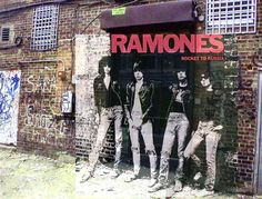 Ramones - Rocket to Russia Warner Bros. Records) The cover for Rocket To Russia was taken outside the back door of popular nocturnal haunt CBGB'S at the end of Extra Place, a small alley running north from East Street between Bowery and Second Avenue. Ramones, Punk Rock, Beatles, Rocket To Russia, Rockabilly, Detective, St Marks Place, It Icons, Famous Album Covers