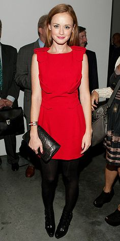 red dress with tights! For my romantic Valentine dinner!