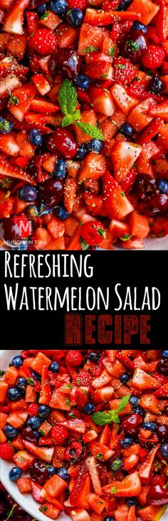 Super refreshing watermelon salad recipe to enjoy on a hot summer day with a del. Super refreshing watermelon salad recipe to enjoy on a hot summer day with a delicious fruit salad dressing! Watermelon Salad Recipes, Healthy Salad Recipes, Fruit Recipes, Summer Recipes, Healthy Snacks, Healthy Eating, Cooking Recipes, Party Recipes, Easter Recipes