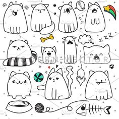 Illustration of Set of 11 sticker doodle cats with different emotions. Isolated cat for design. Fish and mouse. The ball and the ball of yarn. Speech bubble vector art, clipart and stock vectors. Kawaii Doodles, Cute Doodles, Doodle Art Drawing, Cat Drawing, Kawaii Drawings, Easy Drawings, Gato Doodle, Tier Doodles, Doodles Bonitos