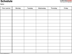 Weekly Schedule Template For Word Version   Timetables On One