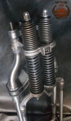Custom Classic Springer Forks *One of the benefits of our front ends is that they are made to order to suit your bike. Also the weight of your bike is considered to expose the resistance and stretch of springs. *To give a vintage look to the bike we were trying to keep the classic Custom Moped, Custom Choppers, Custom Harleys, Custom Bikes, Custom Bike Parts, Homemade Motorcycle, Forks Design, Cast Steel, Gabel