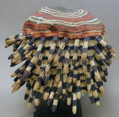 Africa | Prestige hat ~ Ashetu ~  from the Bamileke people of Cameroon | ca. 1980 | Hand crocheted cotton and wood pith. | This Ashetu hat designates the wearer has a senior title holder holding a high rank. It is usually worn during occasion such installation of chiefs or dedication of new buildings in the place.