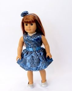 Doll CLOTHES Blue paisley doll dress with headband necklace.