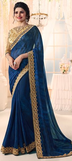 756283 Blue color family Bollywood sarees in Faux Georgette fabric with Lace, Machine Embroidery, Thread, Zari work .