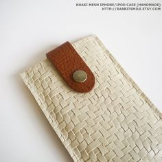 woven leather iPhone case in khaki mesh with brown strap $18