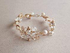 White Opal and Gold Bridal Bracelet